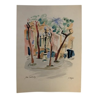 """French """"Place Furstenberg"""" Watercolor Painting by J. Berger For Sale"""