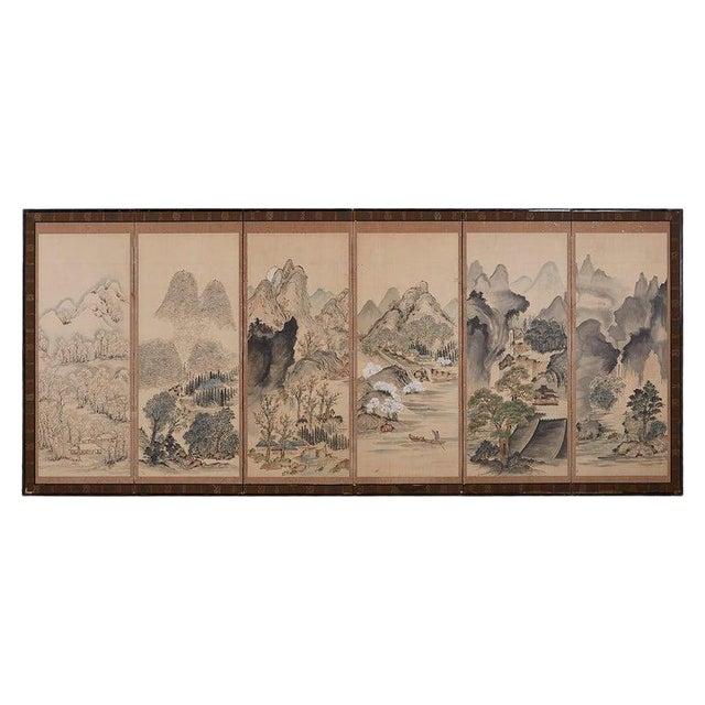 Japanese Six Panel Meiji Landscape Screen For Sale