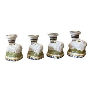 Vintage Ceramic Little Bunny Candle Holders- Set of 4 For Sale