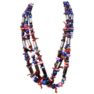 Exotic Artisan Coral & Lapis Semi Precious Statement Necklace For Sale
