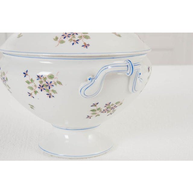 Ceramic French Old Paris Porcelain 'Cornflower' Pattern Tureen For Sale - Image 7 of 8