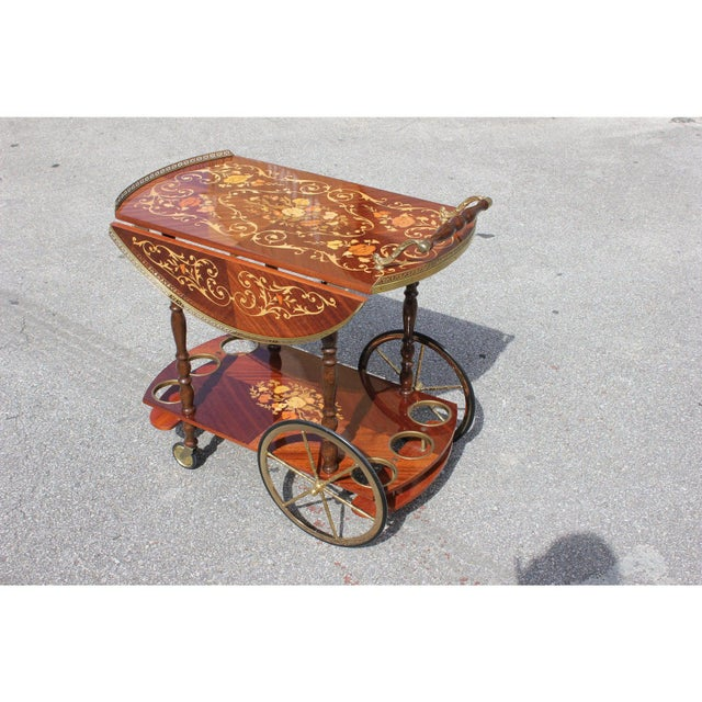 Vintage French marquetry drop leaf bar carts trolley circa 1950s. Beautiful bar and marquetry design, with brass detail....