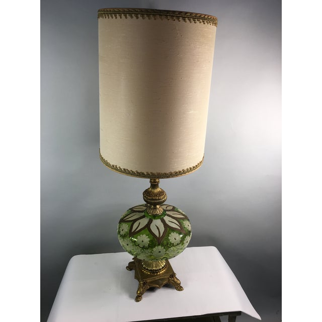 Hollywood Regency Gold & Green Glass Floral Table Lamp - Image 9 of 11
