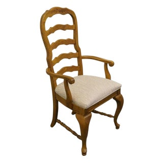 Late 20th Century Vintage American Drew Country French Oak Ladder Back Dining Arm Chair For Sale