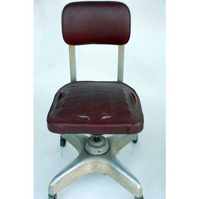 Mid 20th Century Pair of Aged Industrial Office Swivel Chairs For Sale - Image 5 of 7