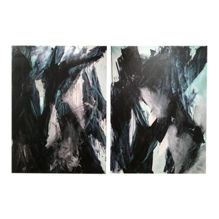"""Stephanie Cate """"Europa 21 & 22"""" Abstract Black and White Acrylic Diptych Paintings For Sale"""