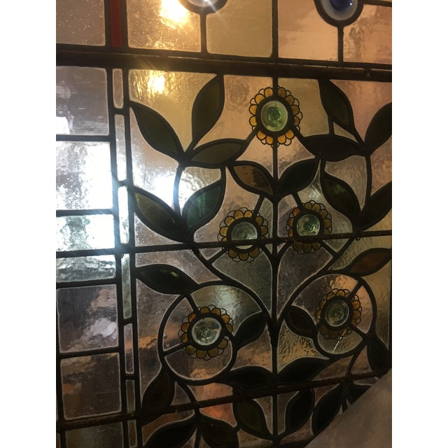A Beautiful Old 1920 S English Door Panel With Wonderful Fl Motif Stained Glass Design Very