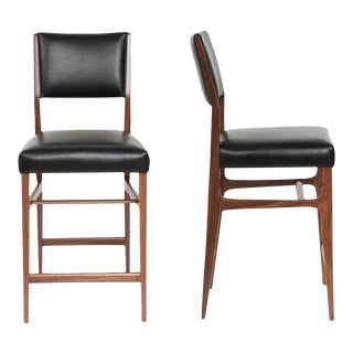 Set of 2 Maze Walnut Counter Stools For Sale