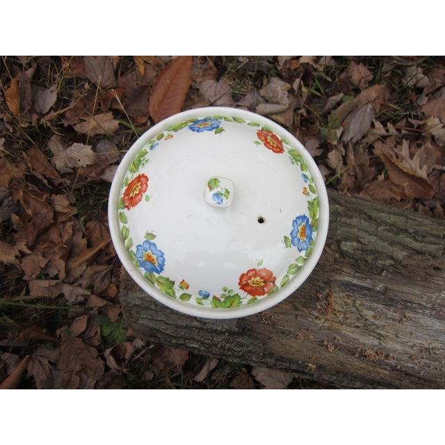 This very collectible, hard to find casserole dish or lidded canister by Columbia chinaware. Manufactured in the...