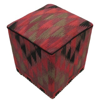 Boho Chic Callaway Red/Pink Handmade Kilim Upholstered Ottoman For Sale