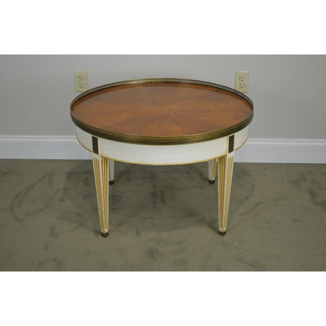 Baker Vintage Regency Directoire Style Round Painted Bouillotte Coffee Table For Sale - Image 11 of 13