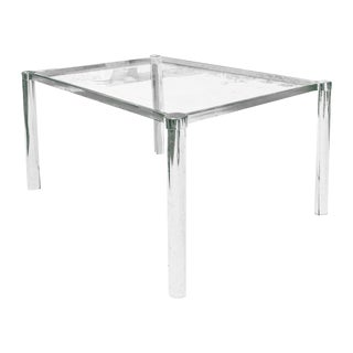 Minimalist Chrome Framed Glass Side Table For Sale