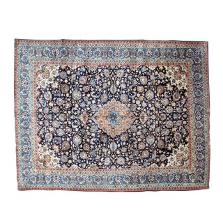 "Leon Banilivi Navy Persian Kashan Carpet - 9'8"" X 12'6"" For Sale"