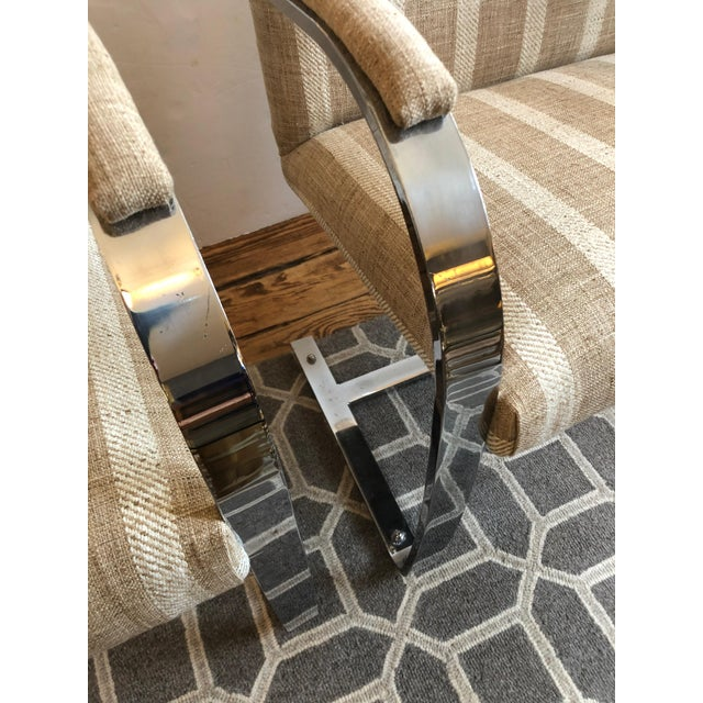 Metal 1980s Vintage Chrome & Upholstered Mid Century Modern Armchairs- A Pair For Sale - Image 7 of 11