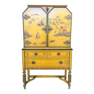 Hand Painted Art Deco Chinese Style Leavens Furniture China Cabinet