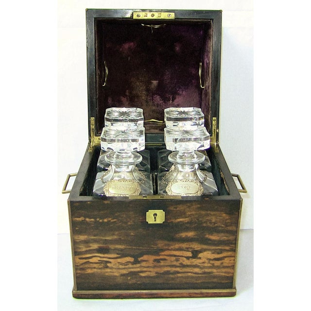 Gold 19c Irish Coromandel Wood Campaign Decanter Box With Irish Crystal Decanters For Sale - Image 8 of 12