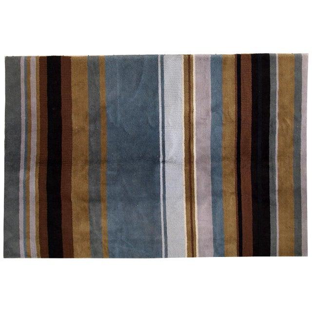 Brown 1980s handmade vintage Indian Modern rug 5.6' x 7.9' For Sale - Image 8 of 10