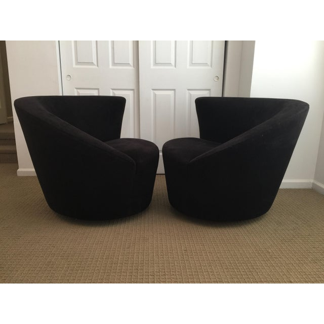 Set of two gorgeous swiveling corkscrew lounge chairs in original black ultra suede fabric by Vladimir Kagan for...