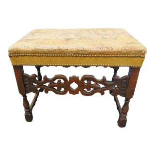 Jacobean Carved Walnut Tapestry Footstool For Sale