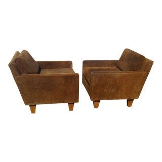 Milo Baughman Suede Club Chairs - a Pair For Sale