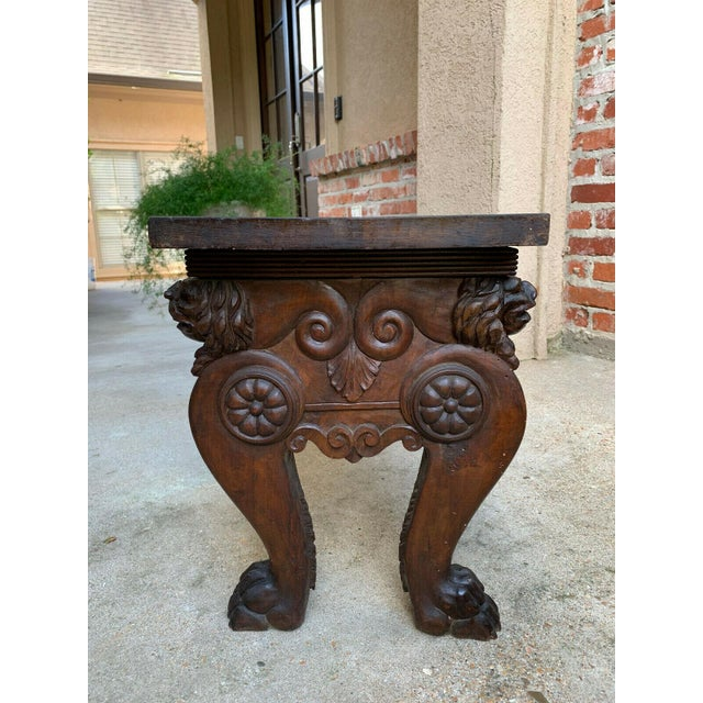1900s Antique Italian Carved Walnut Renaissance Revival Bench Ottoman For Sale - Image 12 of 13