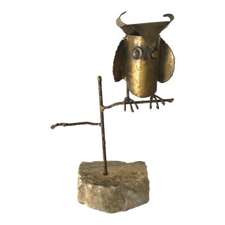 Vintage Brass Finish Owl Sculpture Attributed to Curtis Jere For Sale