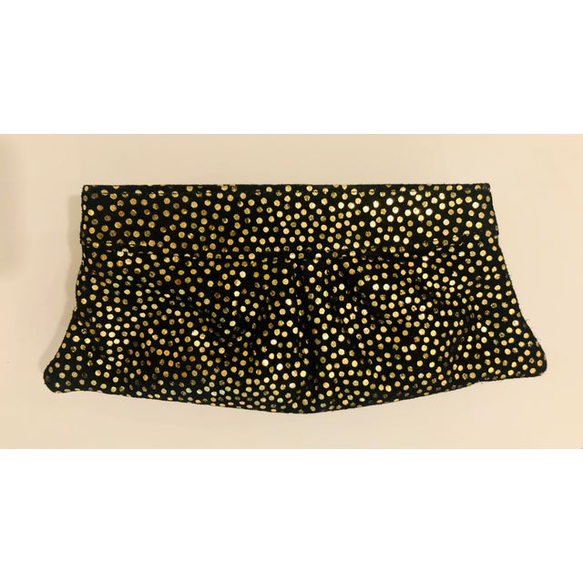 Black Lauren Merkin 1980s Style Black Suede Clutch With Metallic Gold Polka Dots For Sale - Image 8 of 8
