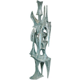"""Large Abstract Patinated Bronze Sculpture """"Conquistador"""" by BJ Las Ponas For Sale"""