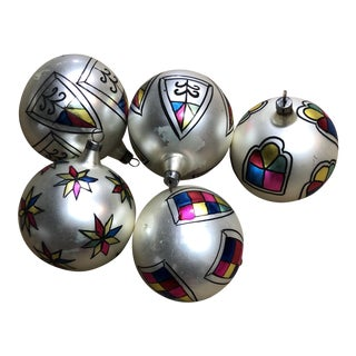 Hand-Blown European Ornaments Set of 5 For Sale