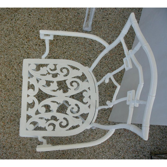 White Faux Bamboo Cast Aluminum White Table and Chairs Five-Piece Patio Set For Sale - Image 8 of 10