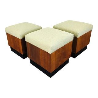 Vintage Danish Modern Style Walnut Cube Stools - Set of 3 For Sale