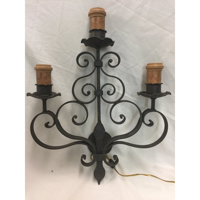 Metal Wrought Iron Wall Sconce For Sale - Image 7 of 7