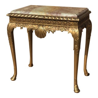 Giltwood Marble Top Console For Sale