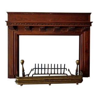 Monumental 1920s Solid Walnut Carved Fire Surround For Sale