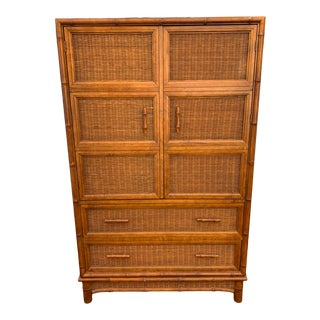 1970s American of Martinsville Faux Bamboo & Wicker Armoire For Sale