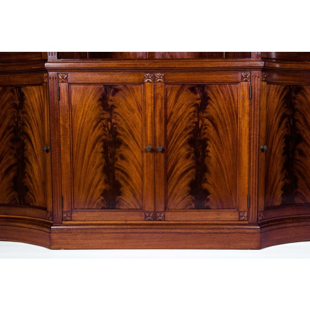 Mid 20th Century Handmade Mahogany Wood Two Parts Breakfront For Sale - Image 5 of 13