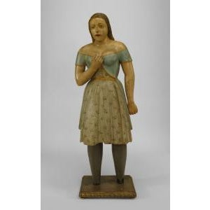 American Country style life size wood figure of young girl For Sale - Image 11 of 11