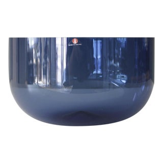 Iittala Finland Glass Serving Bowl Blue Timo Sarpaneva Mid Century For Sale