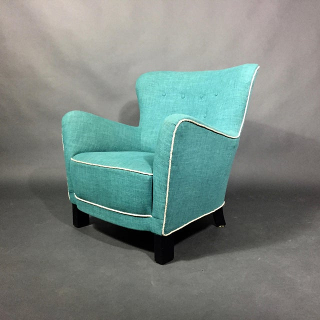 Late 1930s Danish Buttoned Armchair With Turquoise Upholstery For Sale - Image 10 of 10