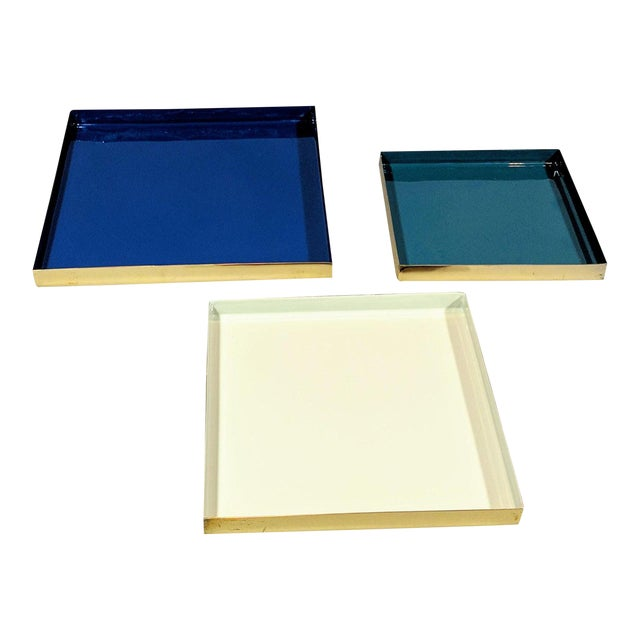 Brass and Enamel Blue, Teal & White Trays - Set of 3 For Sale