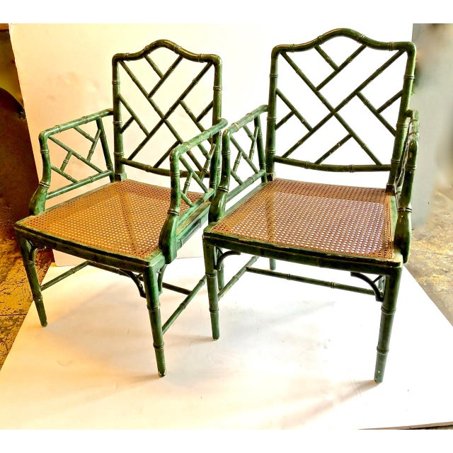Chinese Chippendale Faux Bamboo Chairs, Set of 6 For Sale In Los Angeles - Image 6 of 7
