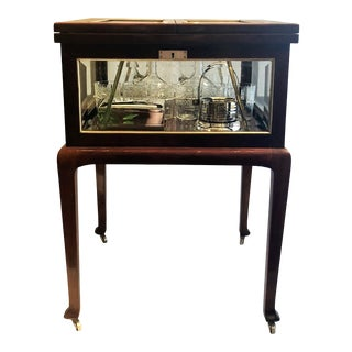 Antique English Mahogany and Beveled Glass Surprise Bar With Cut Crystal and Silver Pieces, Circa 1910. For Sale