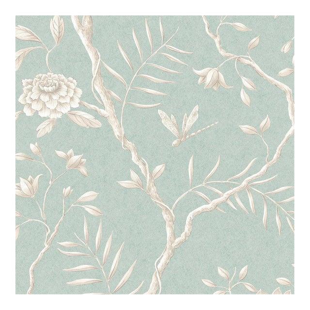 "Lewis & Wood Jasper Peony Green Glaze Bespoke Extra Wide 52"" Botanic Style Wallpaper For Sale"