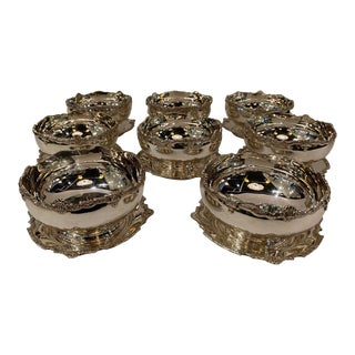 20th Century English Sterling Silver Dessert Bowls W/ Under Plates - Set of 8 For Sale