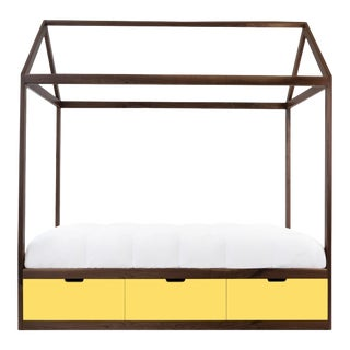 Domo Zen Twin Canopy Bed in Walnut With Yellow Finish Drawers For Sale