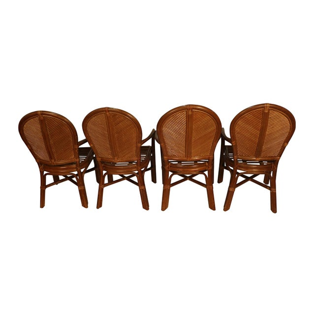 Mid 20th Century Sheaf of Wheat Rattan Dining Table and Chairs For Sale - Image 5 of 11