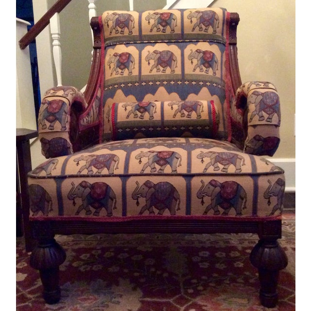 1800's Victorian Carved & Upholstered Armchair - Image 2 of 6