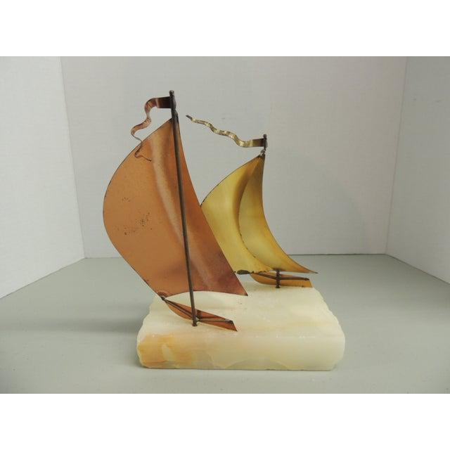 Vintage Brass & Copper Sailboat Sculpture - Image 4 of 4