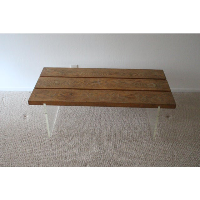 Mid-Century Wood & Acrylic Coffee Table For Sale - Image 10 of 10