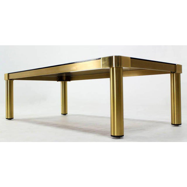 Metal Mid-Century Modern Brass and Two-Tone Glass Coffee Table by Mastercraft For Sale - Image 7 of 11